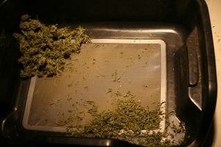 Close up of a trim tray.